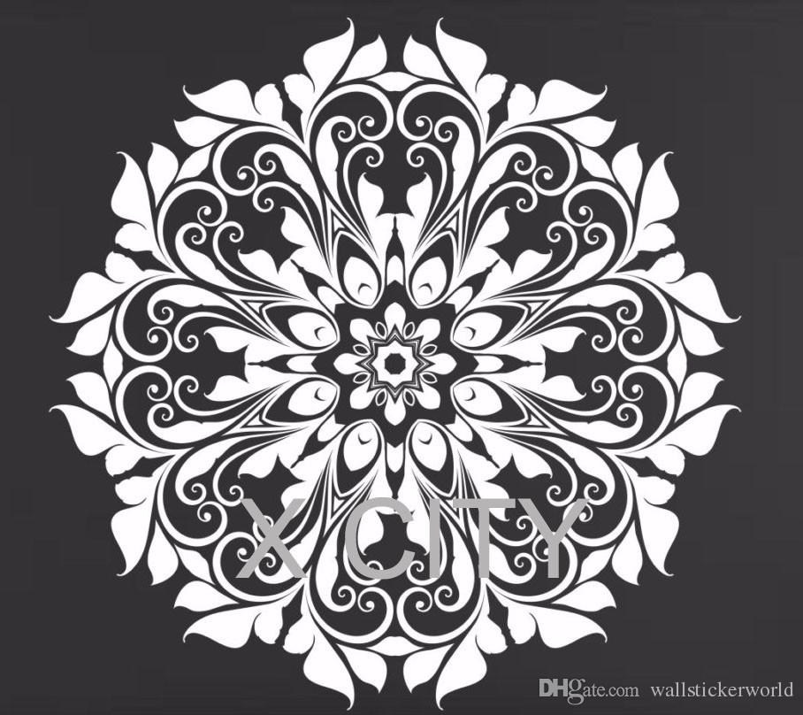 Indian Mandala Round Pattern Wall Decals For Living Room Removable Vinyl Art Sticker Lotus Flower Home Decor