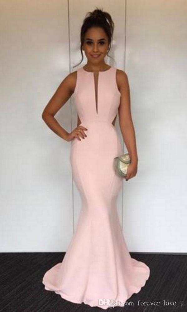 2018 Sexy Mermaid Evening Dresses Jewel Neck Sleeveless Cut Out Backless Design Simple but Elegant Prom Party Gowns Custom Made