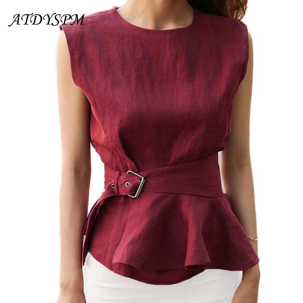 d87ade42a74a 2019 New 2018 High Quality Women Fashion Cotton Linen Shirts O Neck  Sleeveless Belted Blouse Shirts EleSummer Tank Tops Femme From Vanilla10