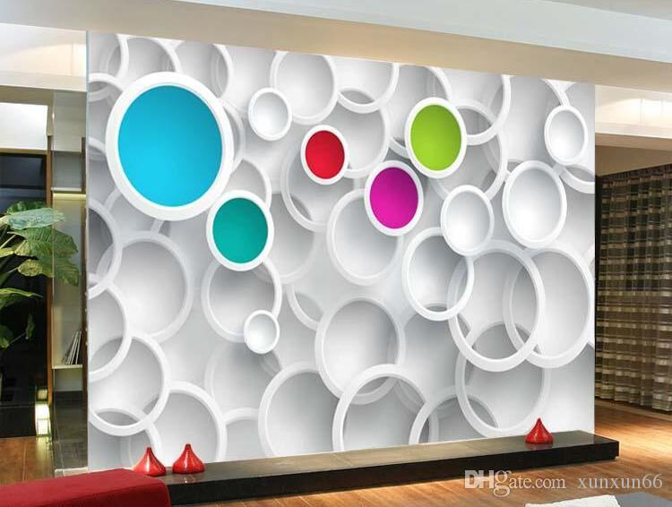Modern 3D Wallpaper Personalized custom Photo wallpaper Colorful Circles Wall Mural Room decor Living Room Bedroom Home decoration Free ship