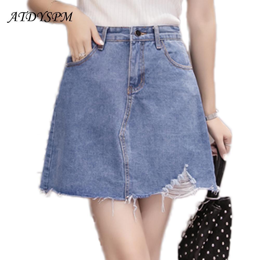 8457baa58 Las nuevas mujeres rasgaron la falda del dril de algodón Mini faldas  atractivas más el tamaño Las mujeres faldas de los pantalones vaqueros de  la ...