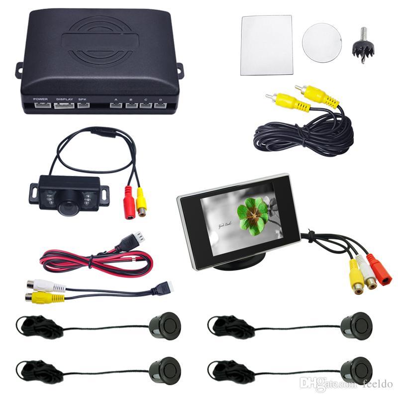 FEELDO 자동차 후면 주차 센서 + 3.5 인치 모니터 + 번호판 카메라 비디오 주차 센서 시스템 # 2155