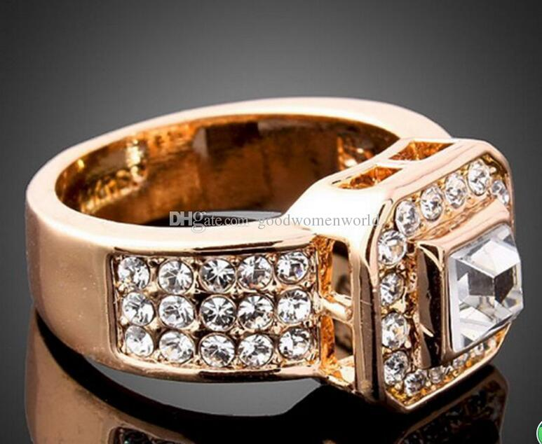 New fine Crystal women rings White Gold GP yellow gold rose gold Wedding Band Ring size 6-9