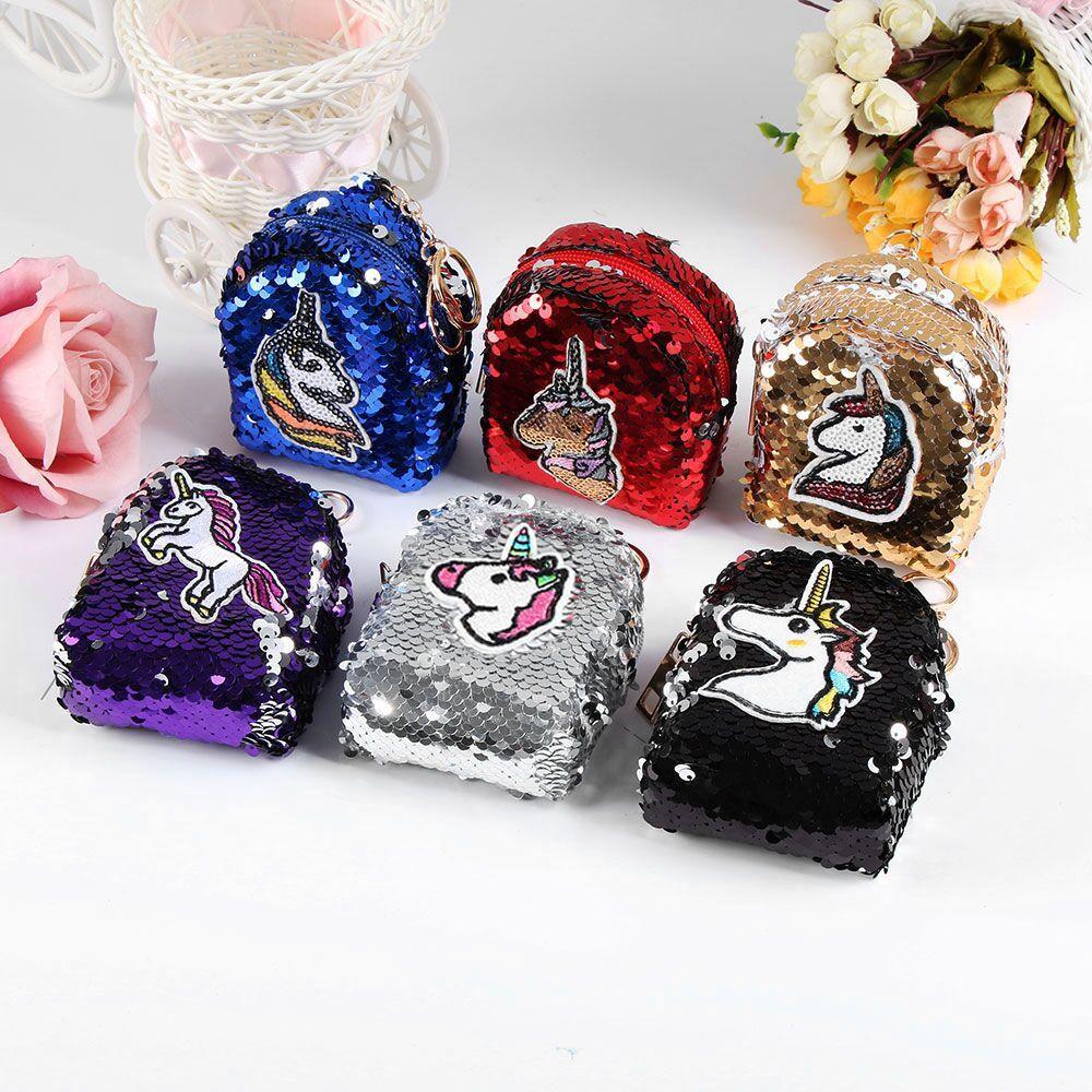 c535903ec4d0 1 UNID Popular Unicornio Diseño de Lentejuelas monederos mujeres dinero  bolsas niñas damas carteras niños niños lindo kawaii monedero titular de ...
