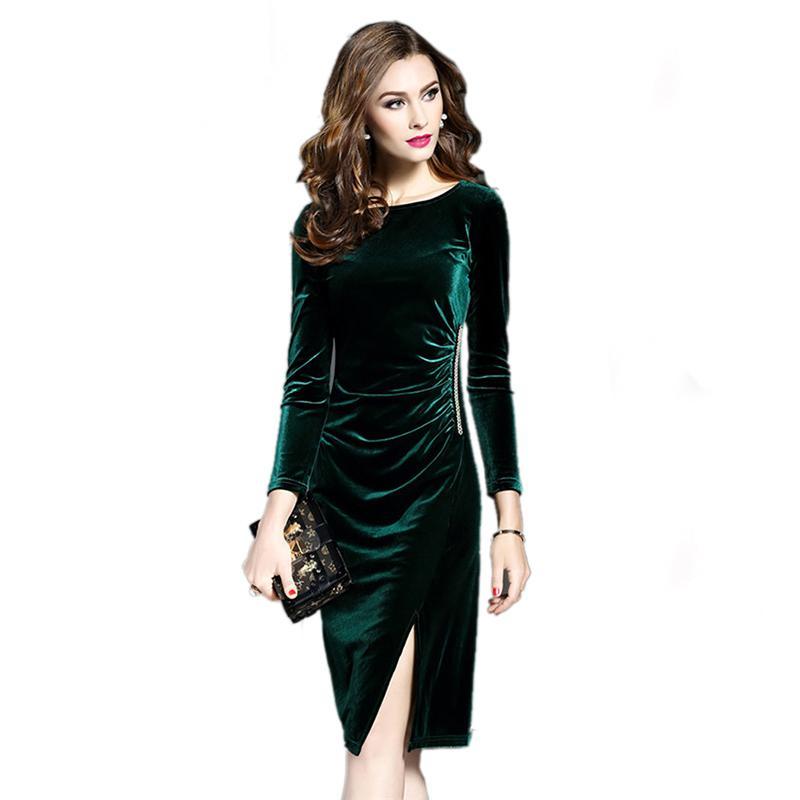 08e5b4d2cfe28 Women Green Velvet Dresses Plus Size Elegant 2018 Spring Autumn Slimming  Fashion Casual Dress Party Dress Vestidos Femininos
