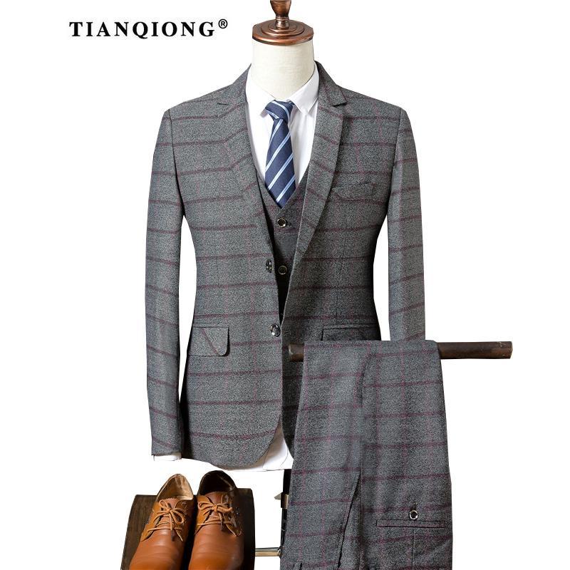Hose Weste 2017 Männer Reine Farbe Anzug Slim Fit Mode Freizeit Hochzeit Kleid Anzüge Man Männer Mantel Blazer Jacke