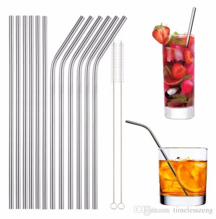 6*215mm stainless steel straw bend and straight 16cm 20cm 24cm stainless steel straw brushes reusable drinking straw