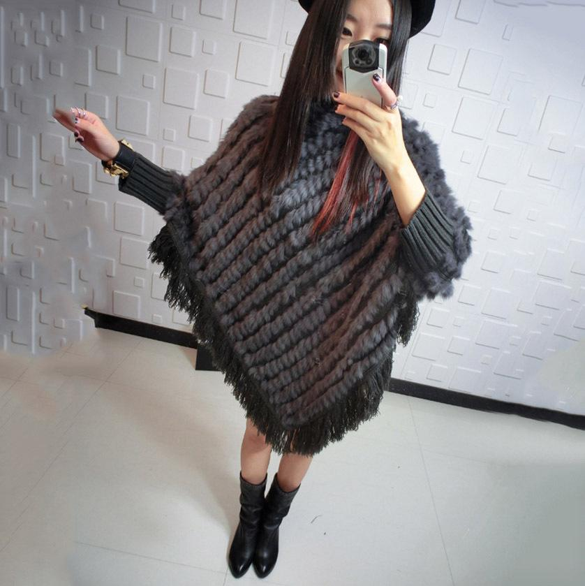 Spring Autumn Winter Lady Genuine Real Knitted Rabbit Fur Poncho Shawls Women Female Party Wrap Pullover femme pashmina capes
