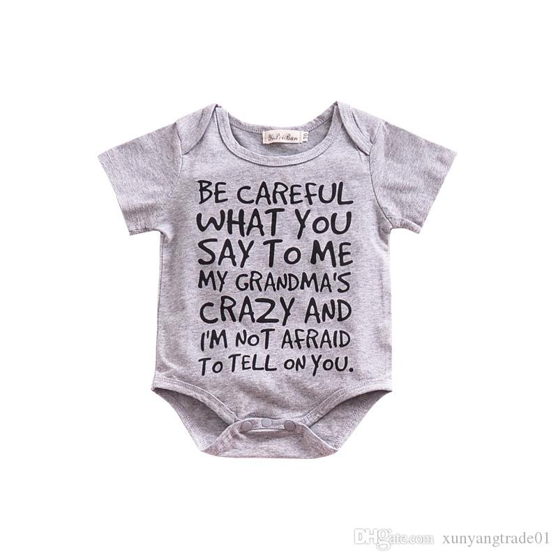 06b55e967115 2019 Summer Baby Romper Infants Newborn Letters Printed Gray Cotton Short  Sleeved Boys Girls Rompers Bodysuits 2018 Ins Kids Baby Clothes 246 From ...