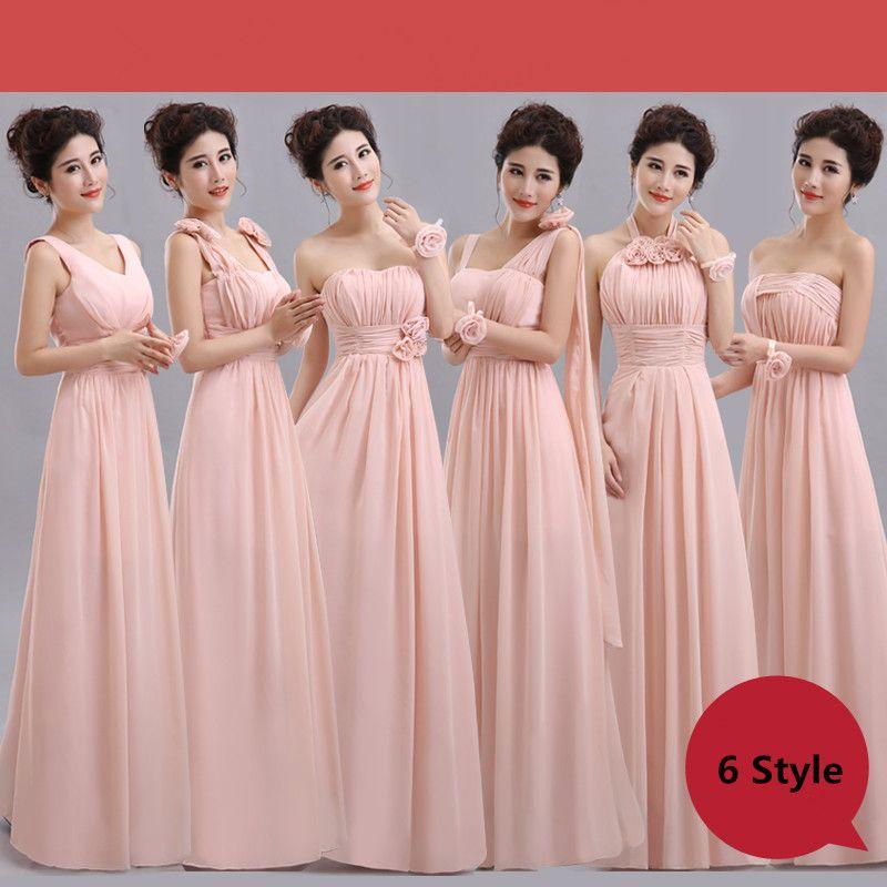 e56078012e9 Cheap Long Chiffon Blush Pink Bridesmaid Dresses 2018 A Line Vestido De  Festa De Casamen Formal Party Prom Dresses Bridesmaid Dresses Plus Size  Bridesmaid ...