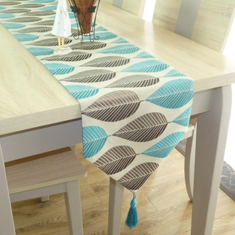 Helloyoung Table Runner Linen Cotton Leaf Jacquard Long Table Cover Fabric  Modern Nordic Style Home Decoration Christmas Table Linens Christmas Table  Runner ...