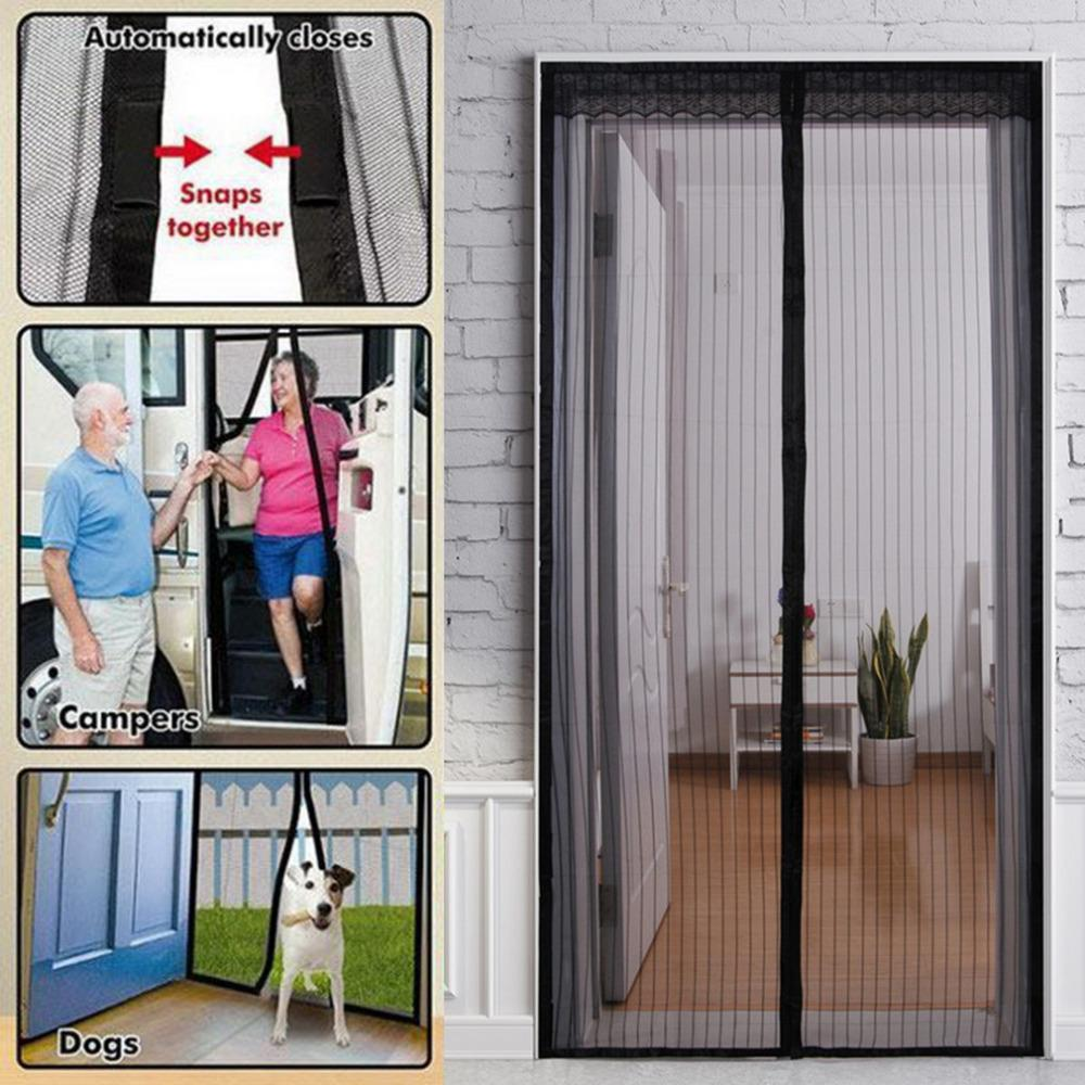 Beau 1PC Durable Door Screen Curtain Mesh Door Mosquito Net On Magnets Hand Free  Anti Bug Protect From Insects 1*2.1m Drop Shipping