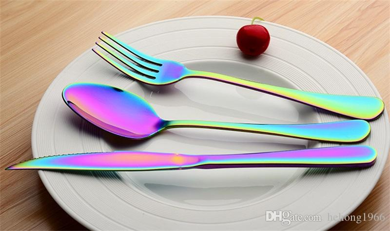 Rainbow Color Tableware Stainless Steel Knife Fork Spoon Scoop Hotel Gifts Three Piece Gold Plated Dinnerware Sets Creative 10 5wl V