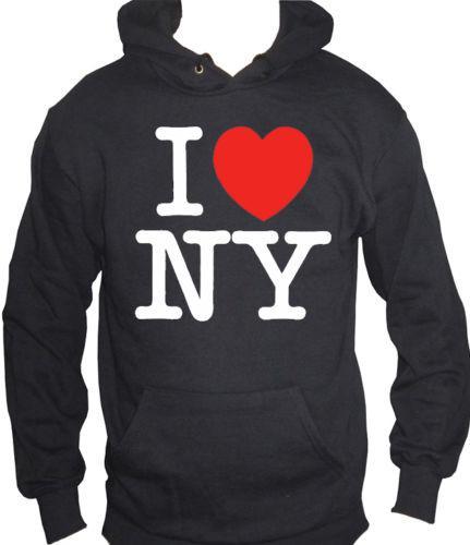 new product 7389c 3dfab fm10 felpa cappuccio uomo I LOVE NY new york io amo cuore MITICHE