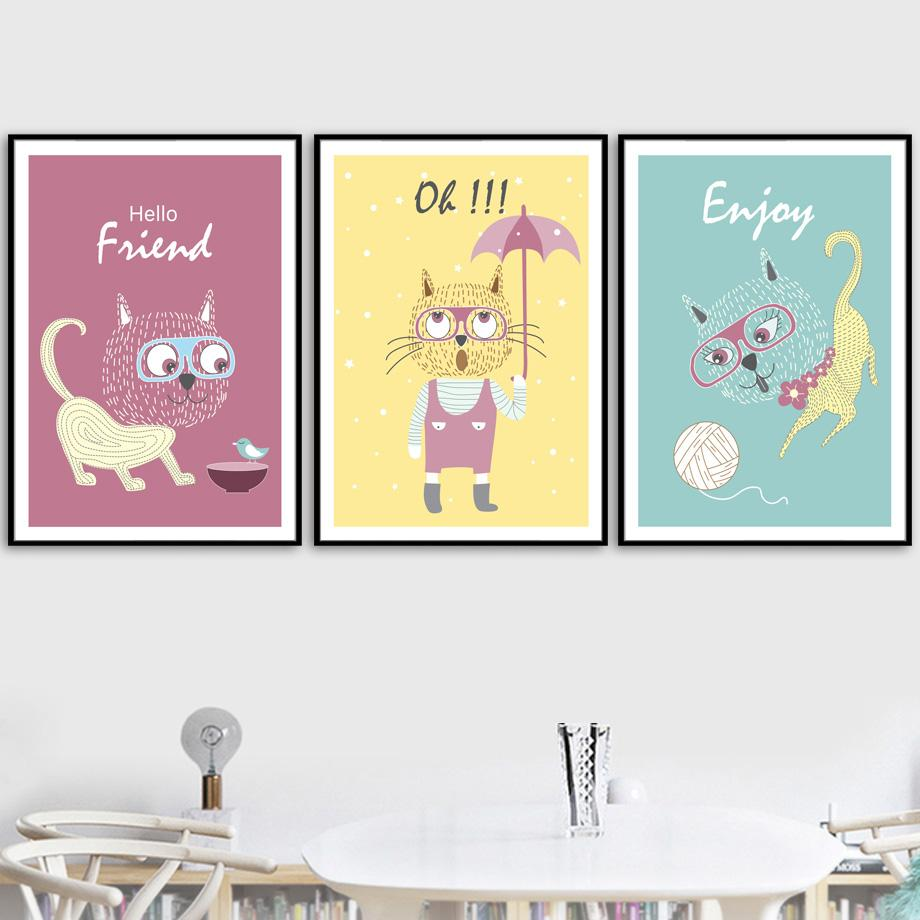 fulboy Cute Cat Canvas Painting Wall Art Posters And Prints Nordic ...