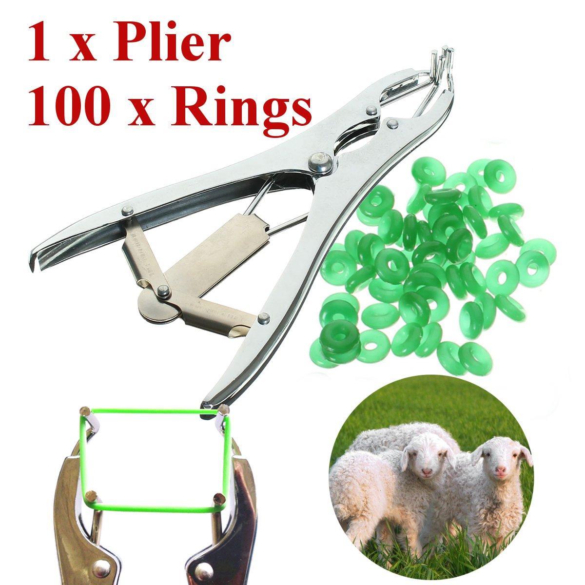 Farming Animal Equipment Tools Pigs Cattle Sheep Castration Pliers Dilation  Forceps Severed Tail Ring Pliers /100 Rings