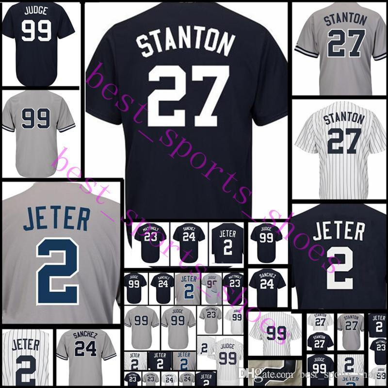 buy popular f2f41 0294a Top #27 Giancarlo Stanton Jersey Men's 99 Aaron Judge 23 Don Mattingly  stitched Baseball Jerseys Free Shipping