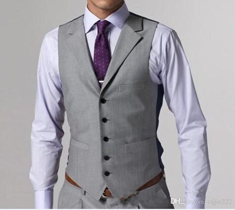 2018 juegos de la boda de la alta calidad ligera de Grey Side Vent novio esmoquin padrinos de boda para hombre mejor hombre Novio chaqueta + pantalones + chaleco + tie
