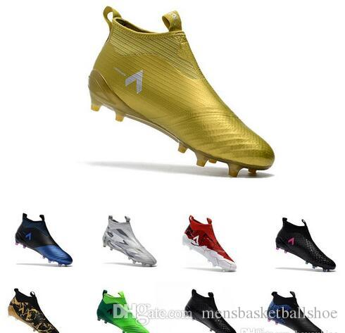 c14735aa7a28 Cheap ACE 17+ PureControl FG Football Boots Black Gold Outdoor football  soccer shoes Paul Pogba Capsule Big Boy Soccer Cleats size 39-45