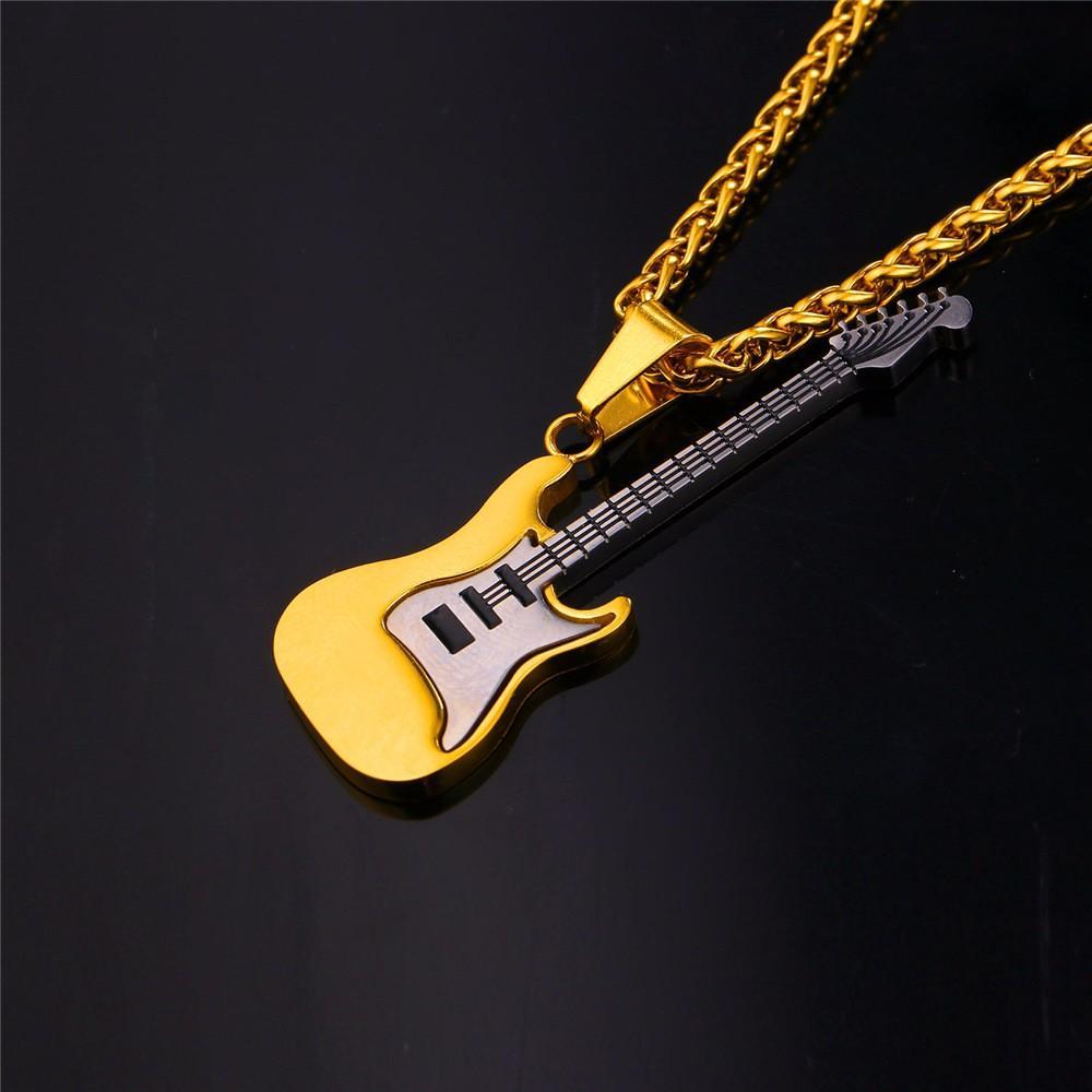 Erkekler Için gitar Kolye / Kadınlar Müzik Lover Hediye Siyah / Altın Renk Paslanmaz Çelik Kolye Zincir Hip Hop Kaya Takı