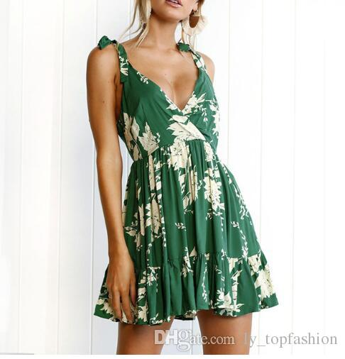 cc45135dcda5 2018 Summer Beach Dress Women Print Green Casual Mini Ruffle Sundress  Backless Brand Fashion New Deep Plus Size V Neck Hot Sale Cocktail Night  Dresses Party ...