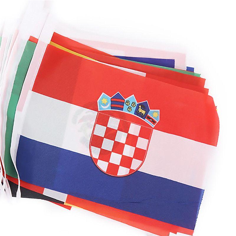 2018 Rusia BANDERAS DE BINGING DE LA COPA MUNDIAL TODOS LOS 32 EQUIPOS 9M Bar String Flags 14 x21cm 20 * 30cm Banderas de Nación de la Copa del Mundo de Decoración