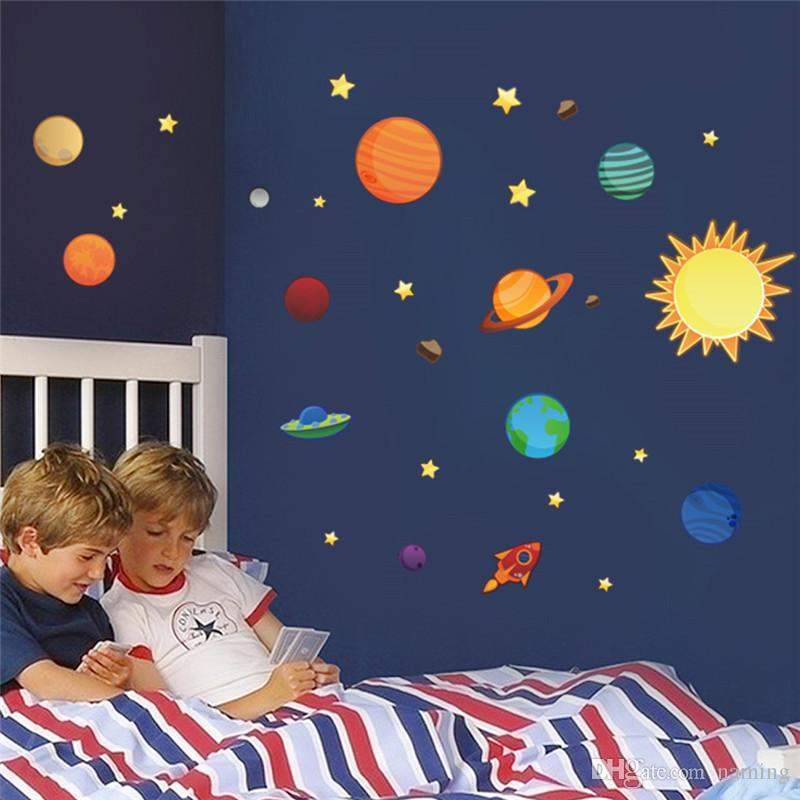 Wholesale Solar System Wall Stickers For Kids Rooms Stars Outer Space Sky Wall  Decals Planets Earth Sun Saturn Mars Poster Mural Space Wall Stickers ...