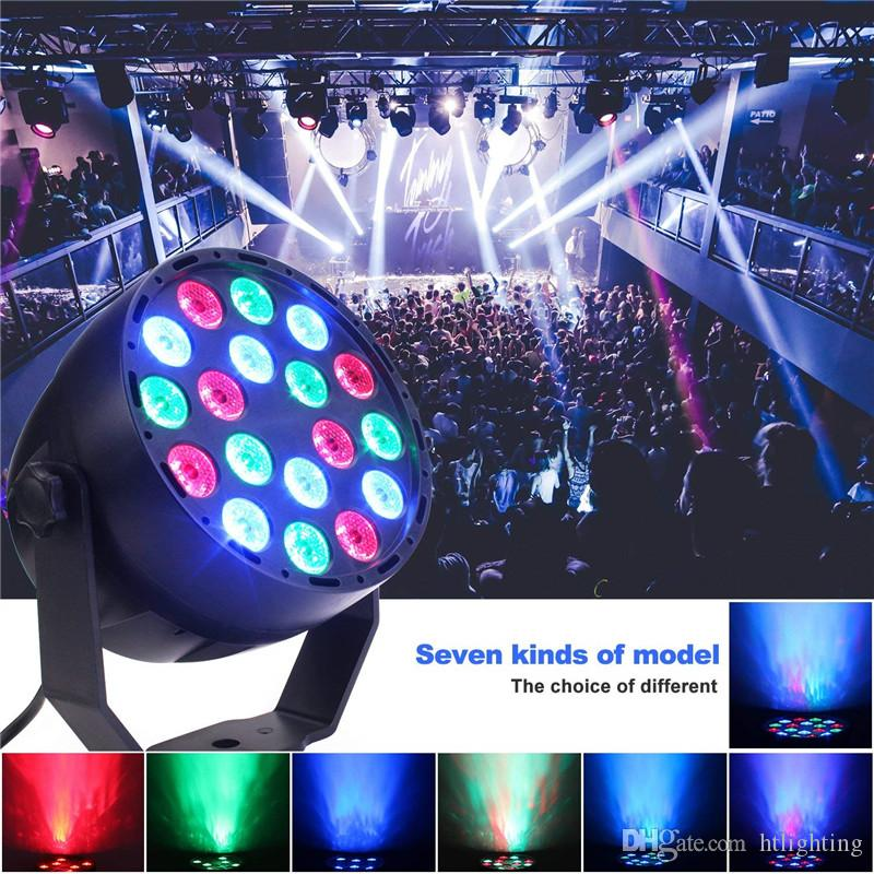 Portable RGB LED Stage Lights 7 Mode 18 LEDs Flat Par Light Remote Control Sound Activated Projector Lamp for Party Bar Club Dsico KTV