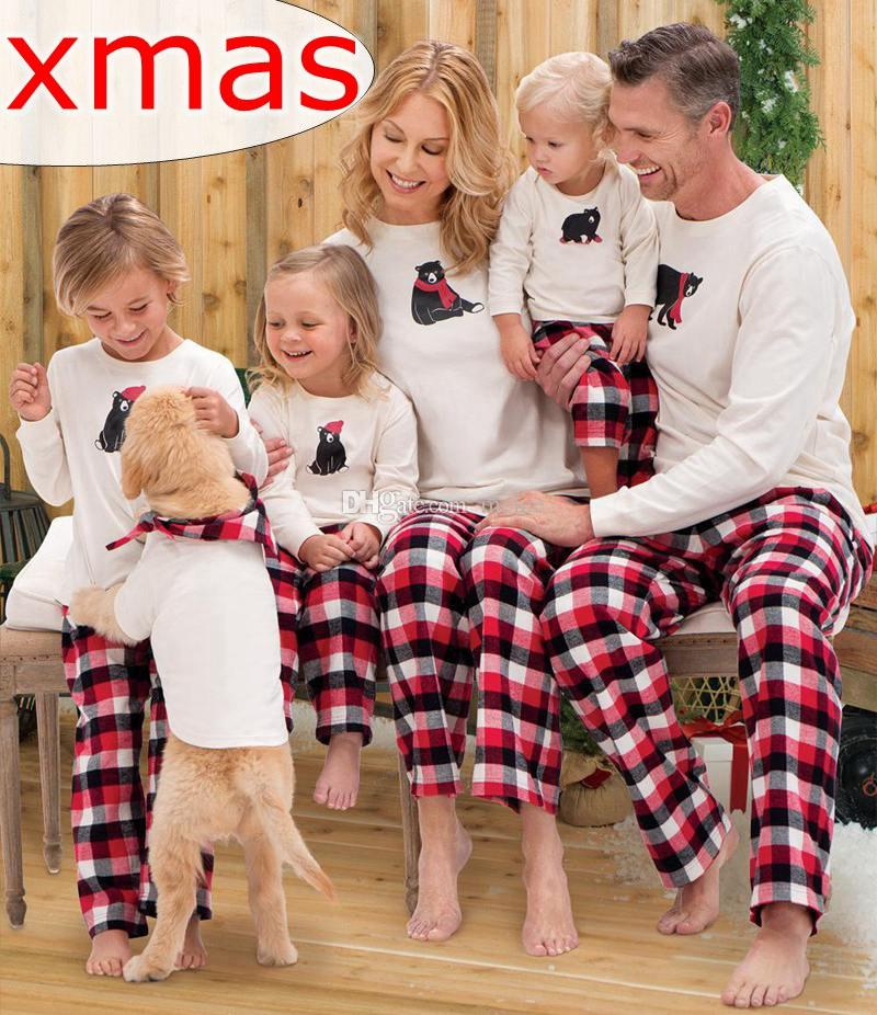 e3c2f6d189 Xmas Christmas Matching Family Outfits Kids Pijama Sets Adult Pyjamas  Sleepwear Baby Bear Plaid Pajamas Women Men Pjs Suit Nightwear Clothes Kids  Xmas Pjs ...