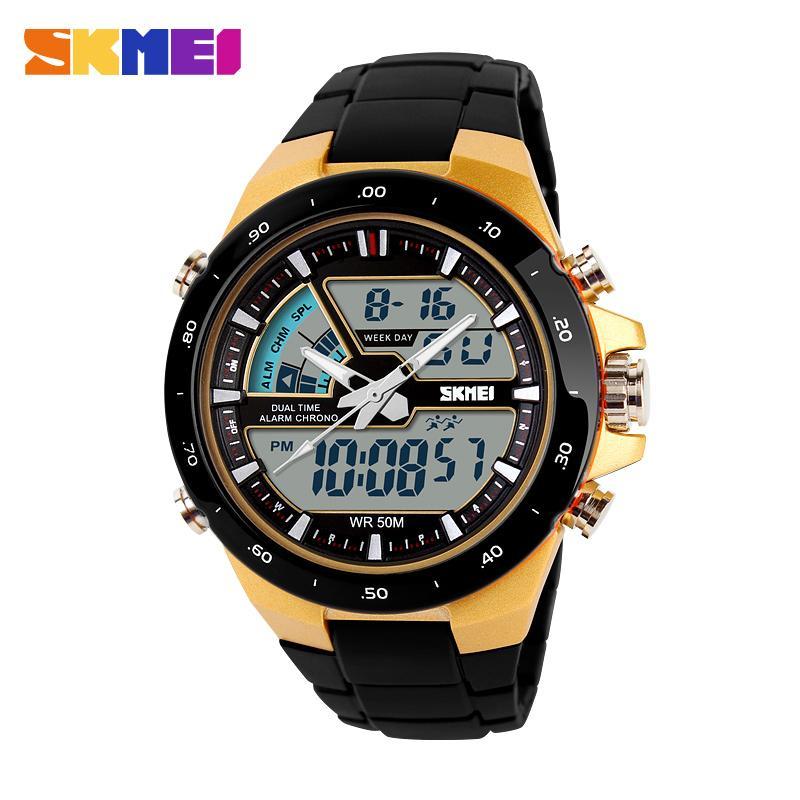 e7c636ab803 Compre Skmei Marca Homens Mulheres Relógios Desportivos Moda Casual Dual Fuso  Horário Digital Relógio De Quartzo Homens Nadar Relógios De Pulso À Prova D    ...