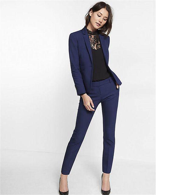 Navy Blue Womens Suit Slim Fit Women Tuxedos Shawl Lapel Suits For Women  One Button Formal Business Women Suits Two Piece Sets Cool Bridesmaid  Dresses ... 2a0813a8c6c2