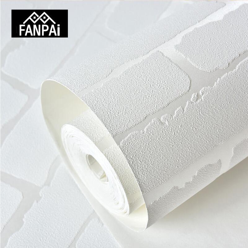 Acheter Fanpai 3d Blanc Brique Papier Peint Pour Murs Roulent Papier