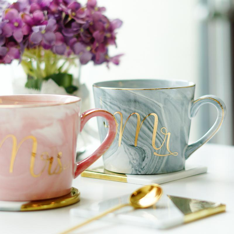 Handpainted Gold Monogram Natural Marble Porcelain Coffee
