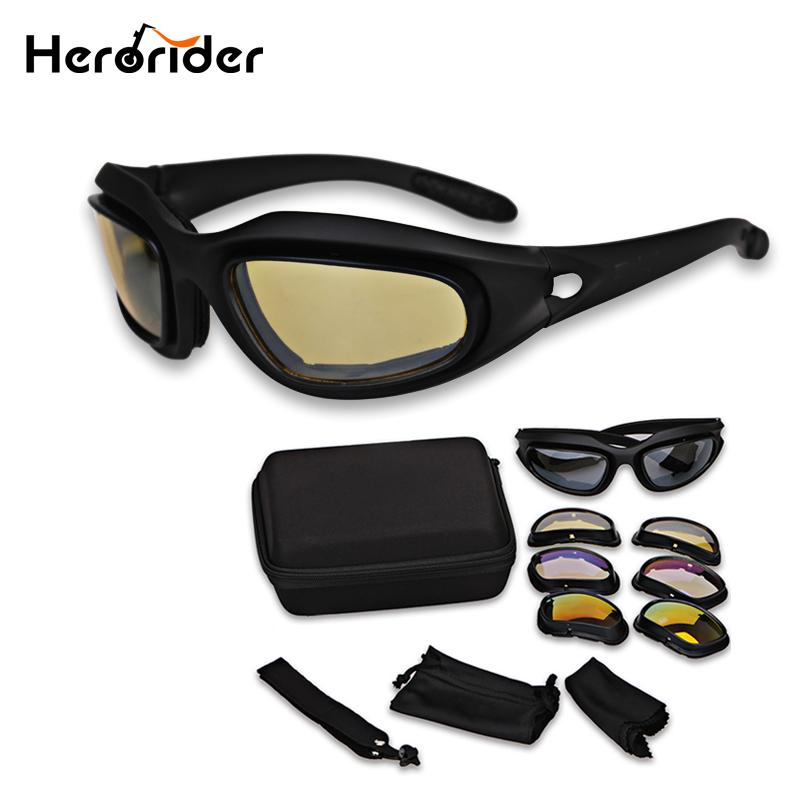 78c8e94a97 Herorider Moto Motocross Desert Goggles Sunglasses Polarized Hunting  Shooting Goggles UV Army 4 Lens Glasses Kd Motorcycle Sunglasses Kd Riding  Glasses From ...