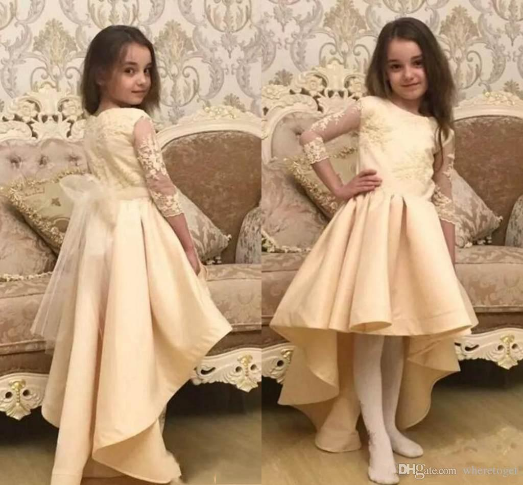 Vintage Girls Pageant Dresses Lace Applique 3 4 Long Sleeve Formal For Church Weddings Flower Girl Dresses high low Birthday Party Dresses