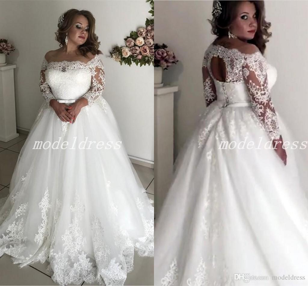 Plus Size Wedding Dresses Sheer Neck 3/4 Long Sleeve Appliques Illusion  Bodice Sash Hollow Back Garden Country Bridal Gowns robe de mariée
