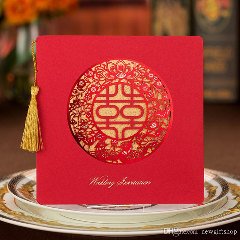 Chinese Traditional Laser Cut Wedding Party Invitation Cards Red Xi ...