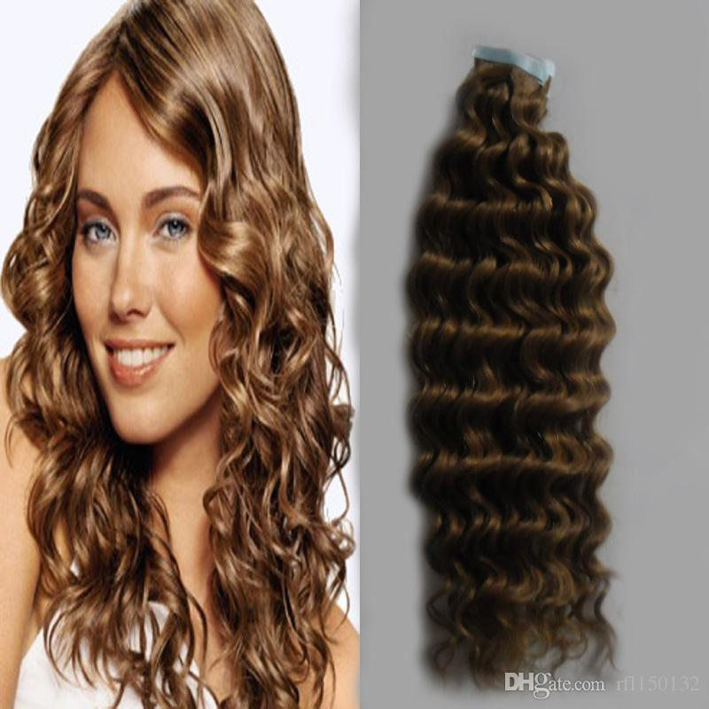 "Tape In Hair Brown Color 12""14"" 16"" 18"" 20"" 22"" 24"" 26"" Deep Wave Full Cuticle Seamless Hair 100g/Set 10-26 Inch Skin Weft Hair Salon Style"