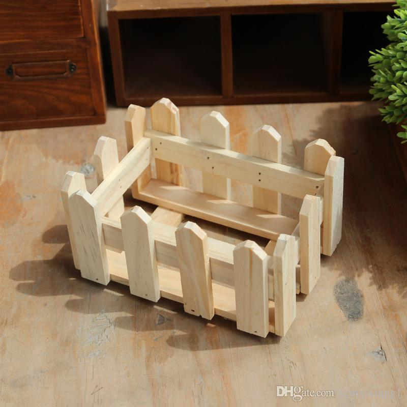 Wooden Rectangle Hollow Flower Shelf or Pastoral Flower/Green Plant Planters Creative Household Desktop Tea Table Storage
