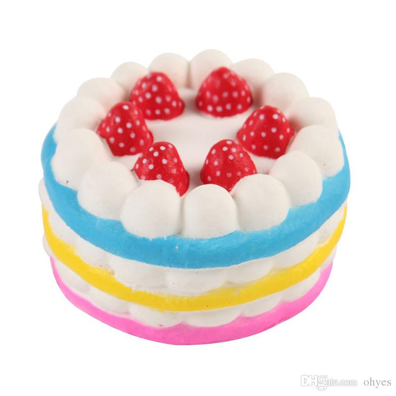 2018 vendita calda squishy torta fragola crema di profumo rosa giallo rosso caffè blu agitarsi giocattolo jumbo decor lento aumento squishies spedizione gratuita