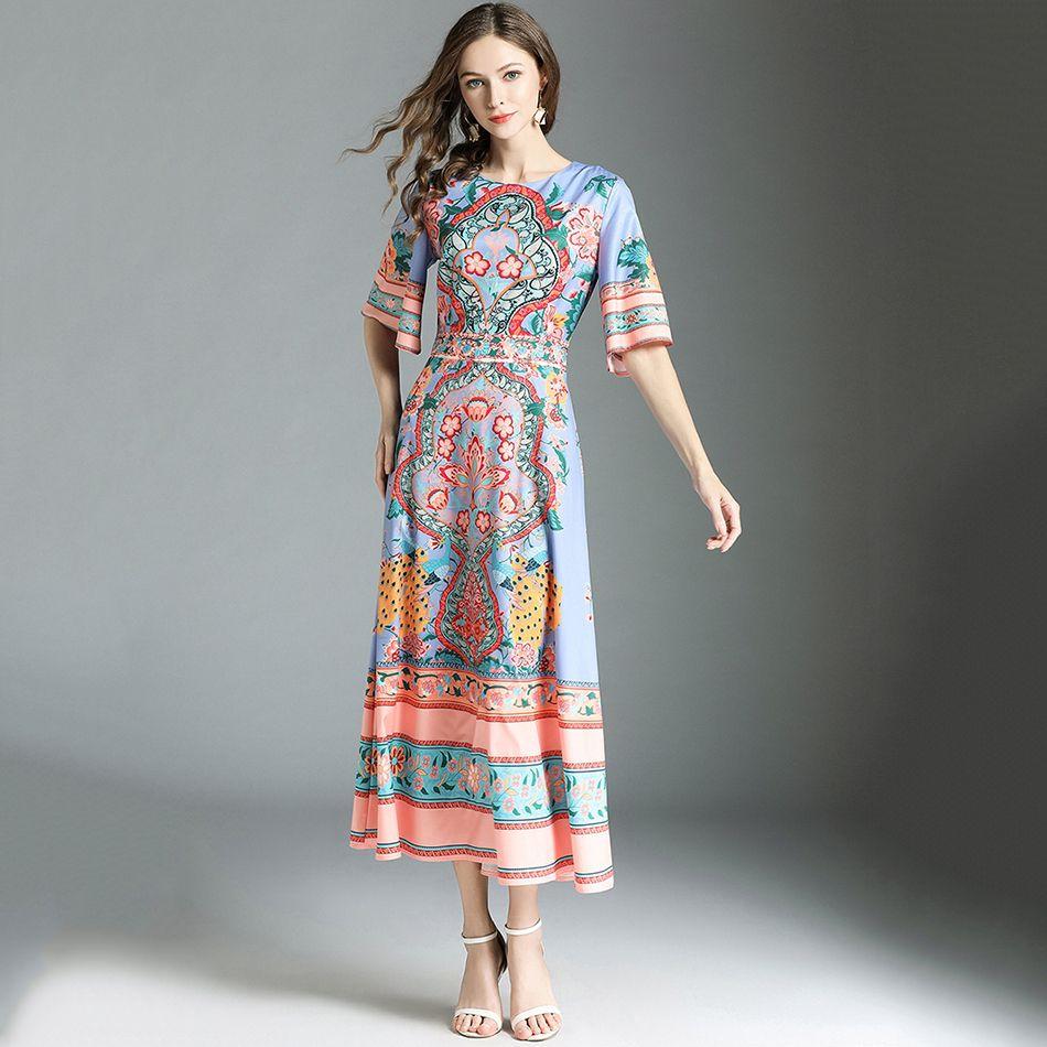 2019 Runway Designer Dresses 2018 High Quality Summer Dresses Flare ... c95effb12cce