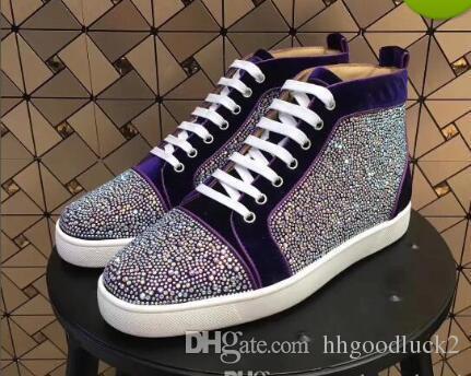 b9dc3faab28 Rhinestone Mens Womens Casual Shoes Unisex Red Bottom Sneakers Multi ...