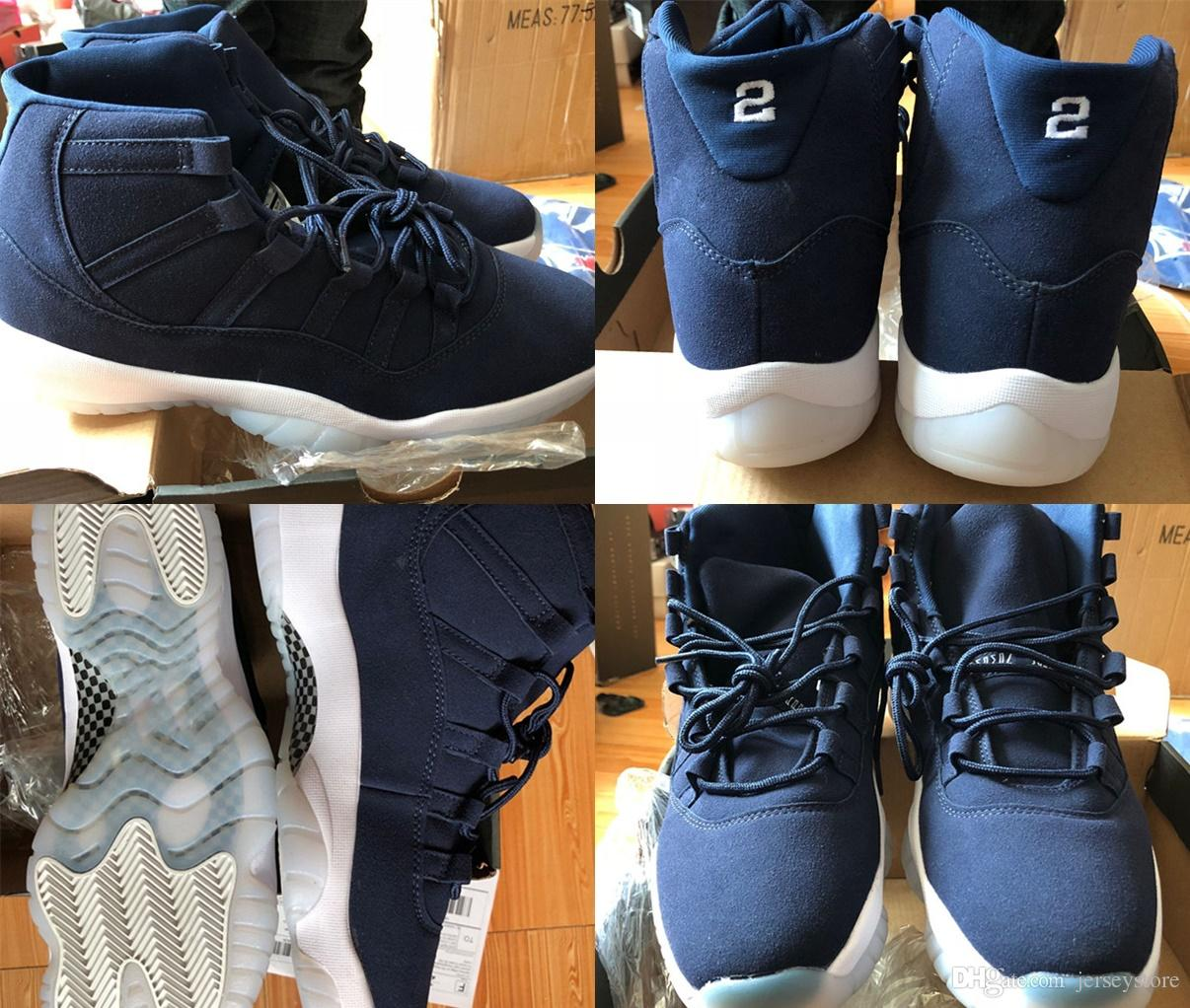 60052a2c363 High Quality 11 XI Jeter Re2pect Mens Basketball Shoes Blue Suede ...