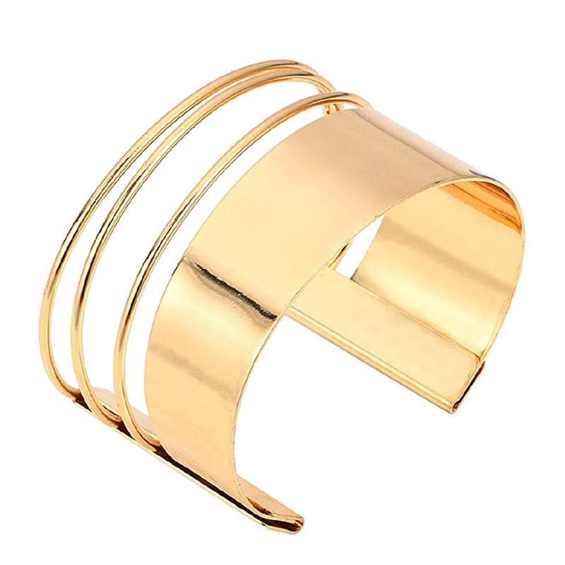 cb0703efc7e3 Hueco ancho brazalete pulseras brazaletes para mujeres hombres oro plata  color de aleación abierto grande hombre mujer brazalete pulsera joyería de  moda