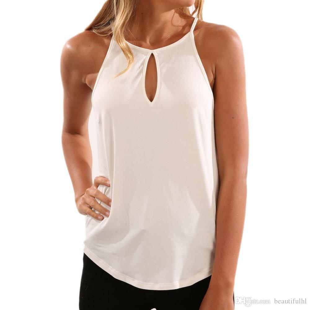 6c0033c91a0ae WT020 Fashion Spaghetti Strap Tops Solid Summer Women T Shirt Off Shoulder  Sleeveless Casual T Shirt Fashion Hollow Out Female Casual Tops Humor Shirts  ...