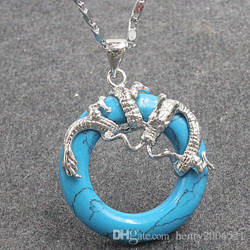 Мода ювелирные изделия Superb бирюзовый дракон кулон ожерелье