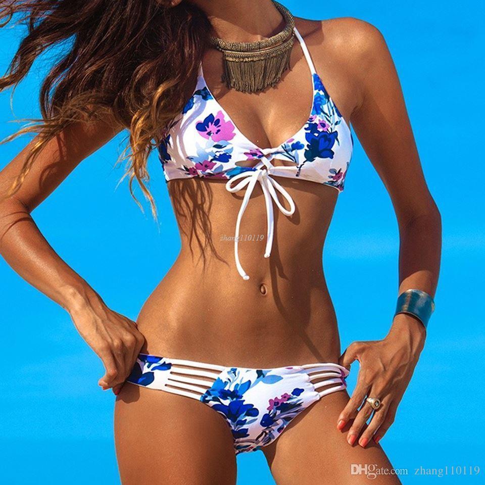 ce284529c1c 2019 2018 New Sexy Strappy Hollow Out Bikini Set Women String Swimwear  Brazilian Reversible Print Bathing Suit Summer Hot Swimsuit 20 From  Zhang110119