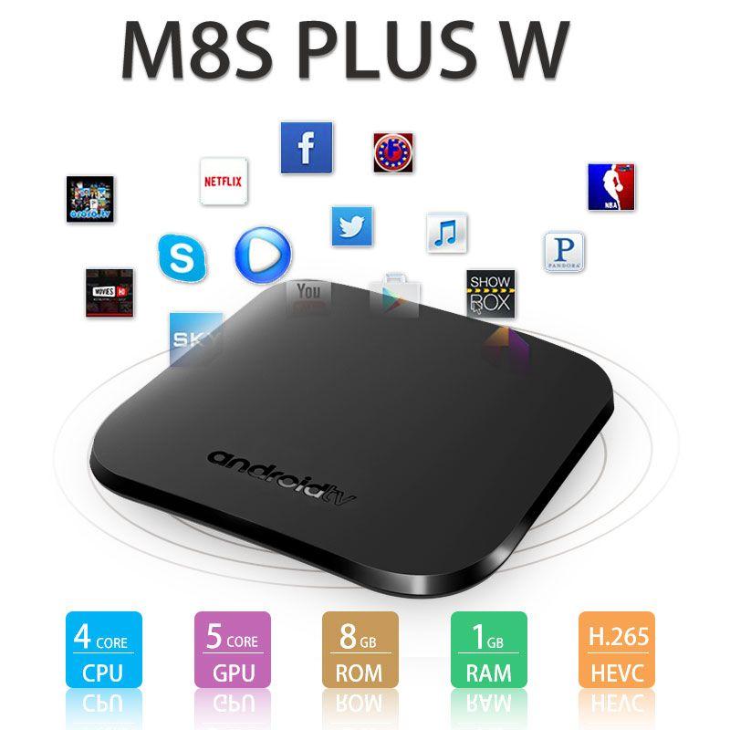 Newest M8S Plus W android tv box Quad Core 1G 8GB Amlogic S905W 4K Media Player iptv box Support 3D free movie