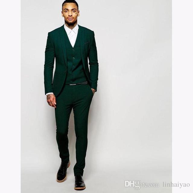 2019 Latest Coat Pant Design Dark Green Mens Dinner Prom Suits Terno