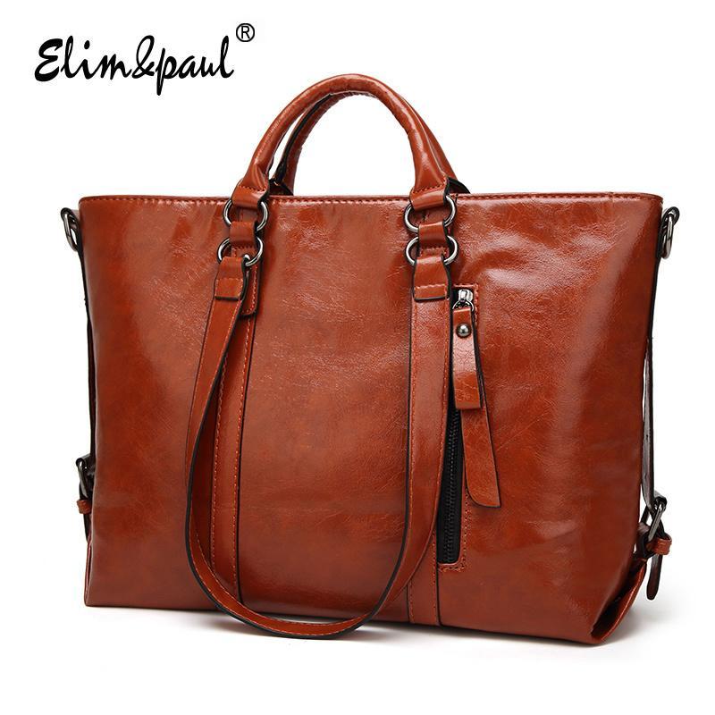 a72e5284f4 ELIM PAUL Women Leather Handbags Top Handle Bags Ladies Tote Retro Shoulder  Bags Crossbody Bag Bolsos Women Messenger Bags A003 Designer Handbags On  Sale ...